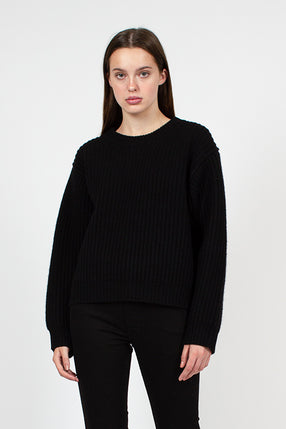 Black Ribbed Crewneck