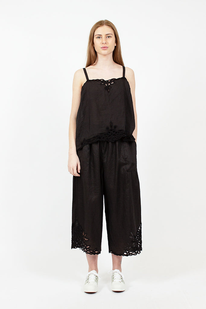 Black Lace Trim Pants