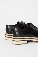 Black Platform Lace-up Derby Shoe
