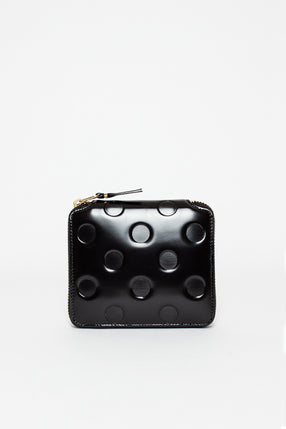 SA2100 Leather Coin Wallet Black Embossed Polka Dot