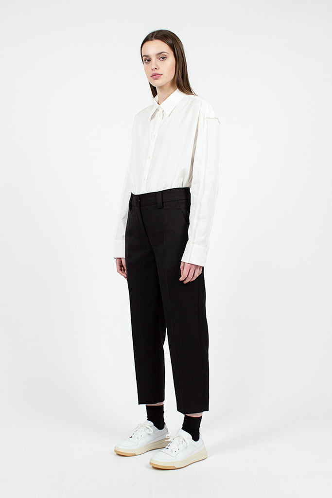 Flat Front Black Summer Pant