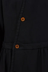 Black Button Up Oxford Treated Dress