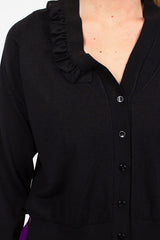 Black Fine Knit Rib Cardigan