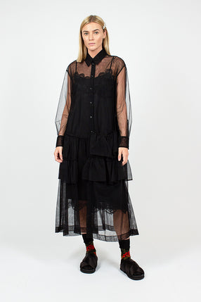 Black Tulle Tier Shirt Dress