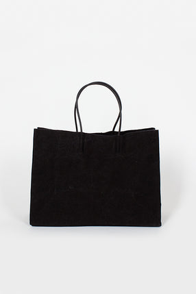 Black Washed Canvas Wide Bag