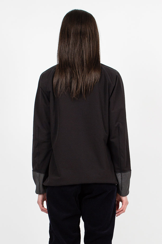 Backside Shaggy Pullover Black Double Weave