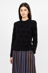 Black Polka Dot Knit Sweater