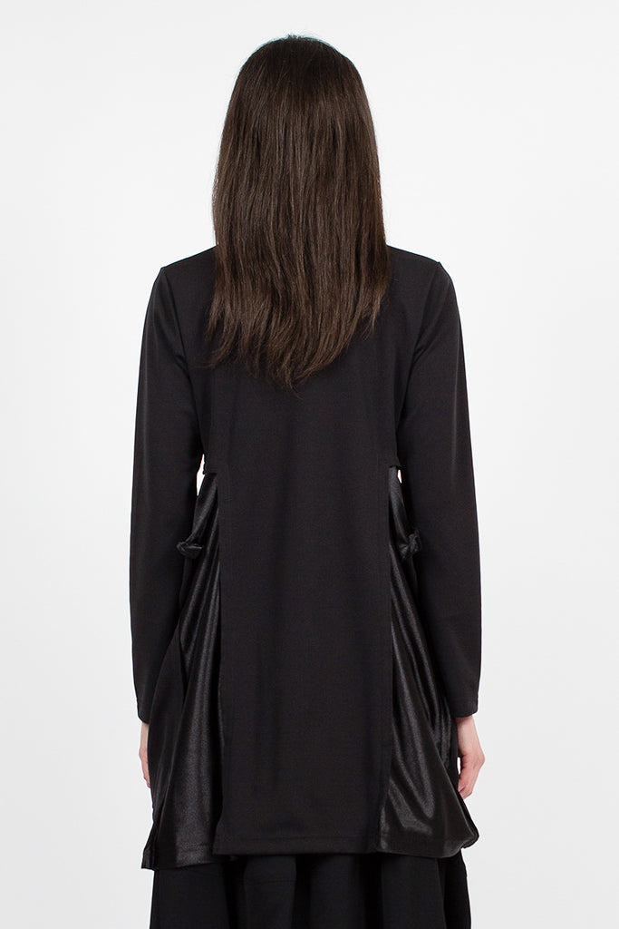 Black Satin Panelling L/S T-Shirt