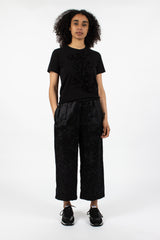 Floral Sateen Cropped Pant Black