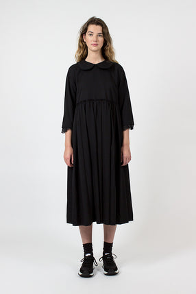 Black Pleated Midi Dress