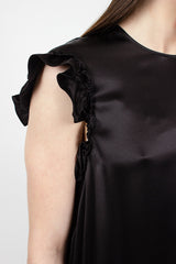 Asymmetric Frill Top Black