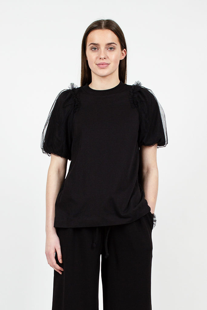 Inverted Puff Sleeve Tee Black
