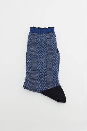 Blue Asymmetric Stripe Sock