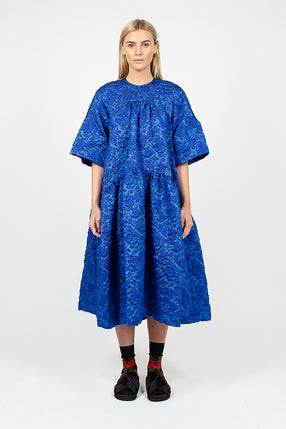 Blue Cloque Gathered Midi Dress