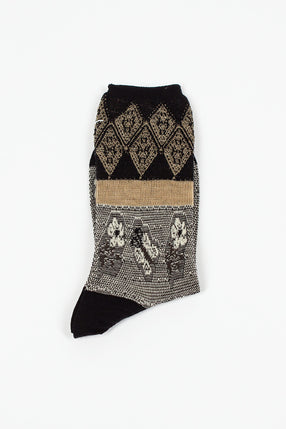 Blooms Black/Ivory Sock