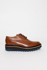 Tan Platform Lace-up Derby Shoe
