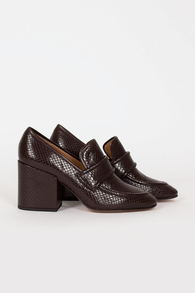 Brown Heeled Loafer