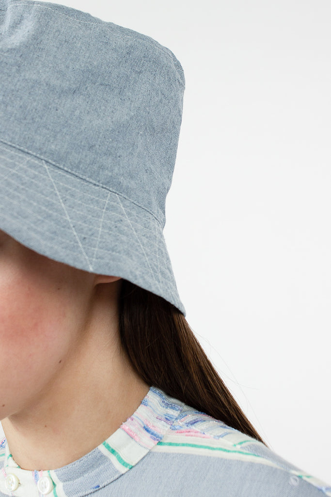 Blue Upcycled Chambray Bucket Hat