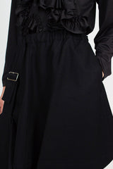 Black Asymmetric Buckle Skirt