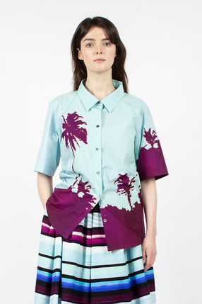 Camee Bis Palm Printed Shirt Blue/Purple