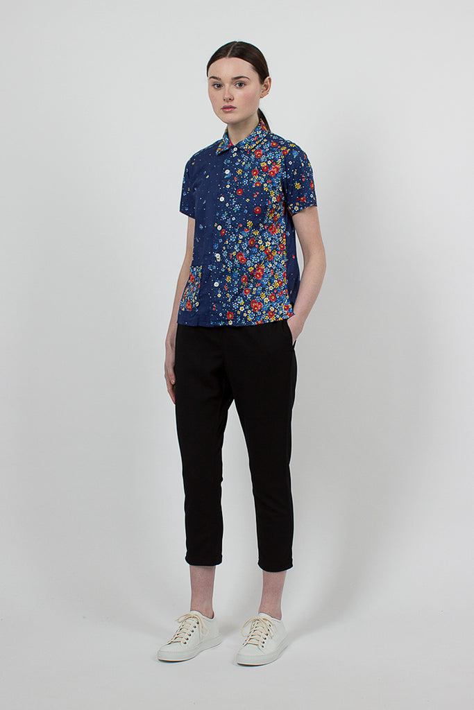 Navy/Red Floral Lawn Camp Shirt
