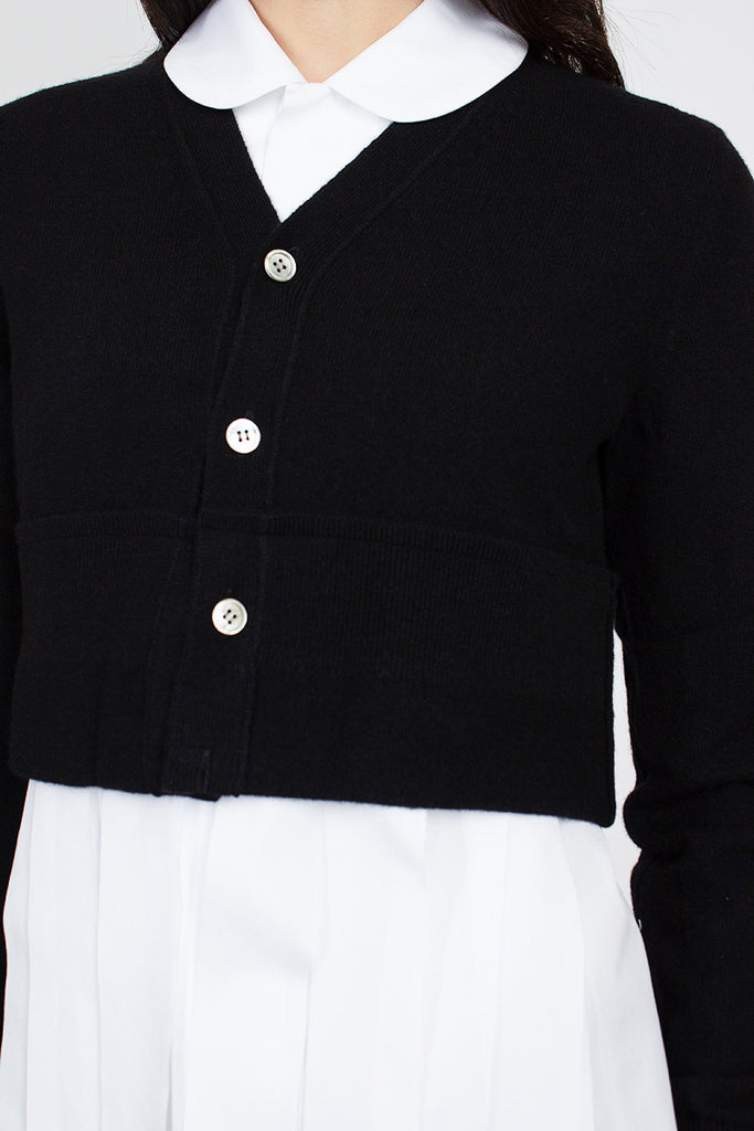 Black Short Wool V-Neck Cardigan