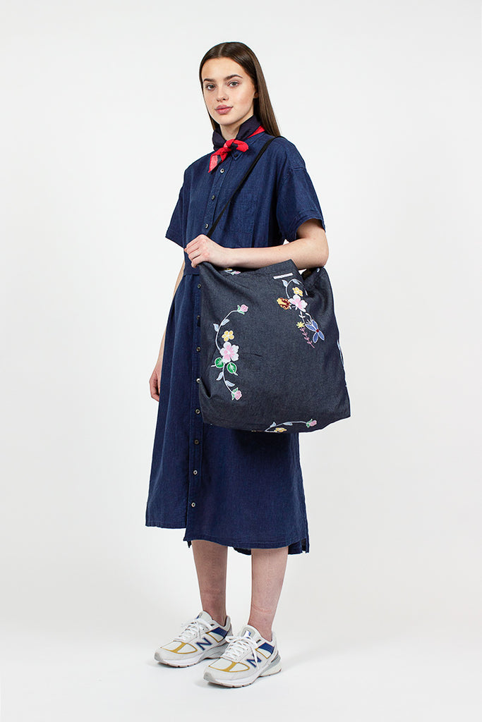 Carry All Tote Indigo Denim Floral