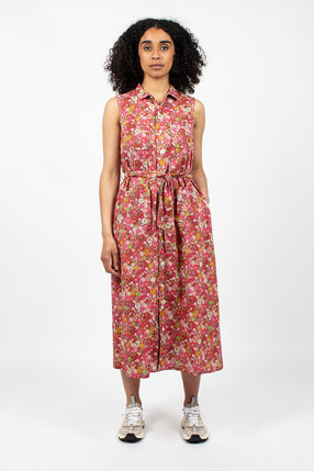Classic Dress Big Floral Cotton Lawn Red