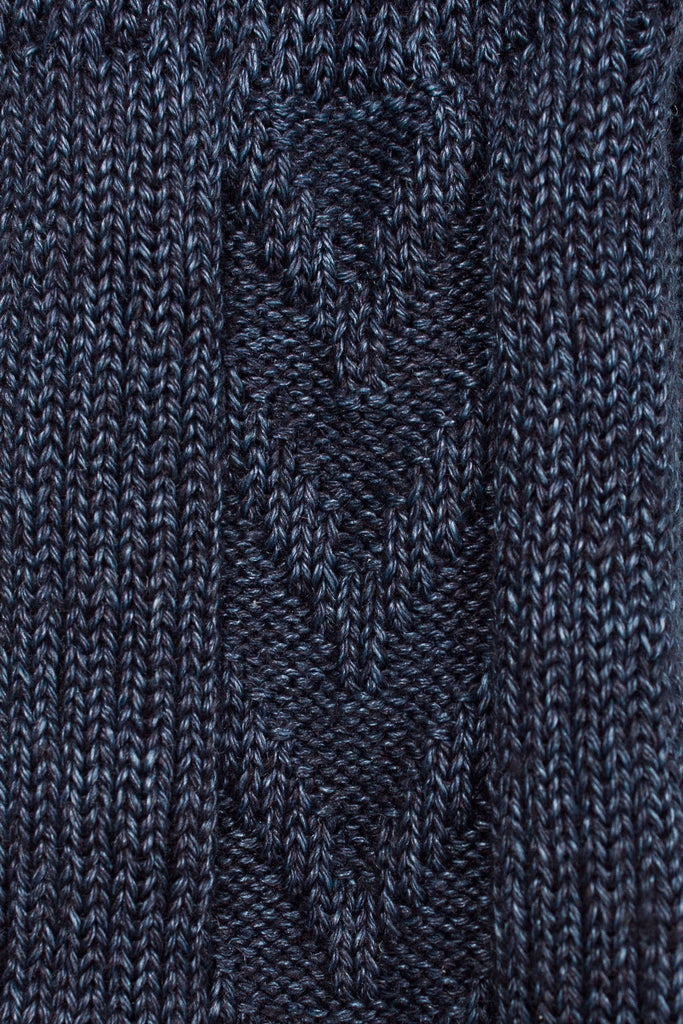 Navy Ribbed Knit Sock