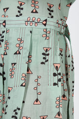 Waterfall Vine Print Pleated Skirt