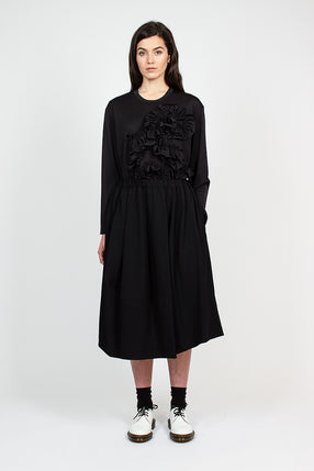 Black Pleated Wool Drawstring Skirt