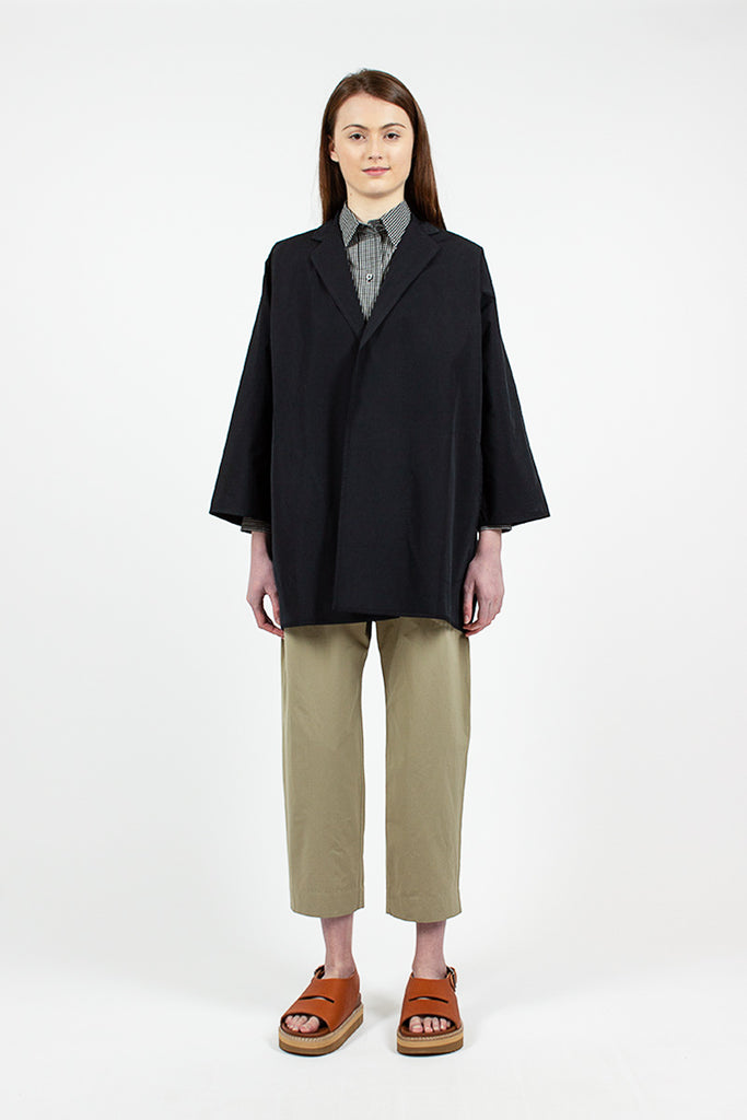 Black Buttonless Cocoon Coat