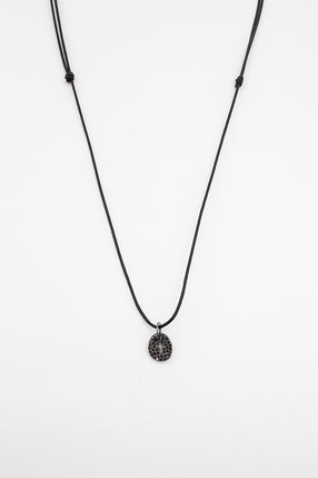Black Diamond Cross With Wax Cord Necklace