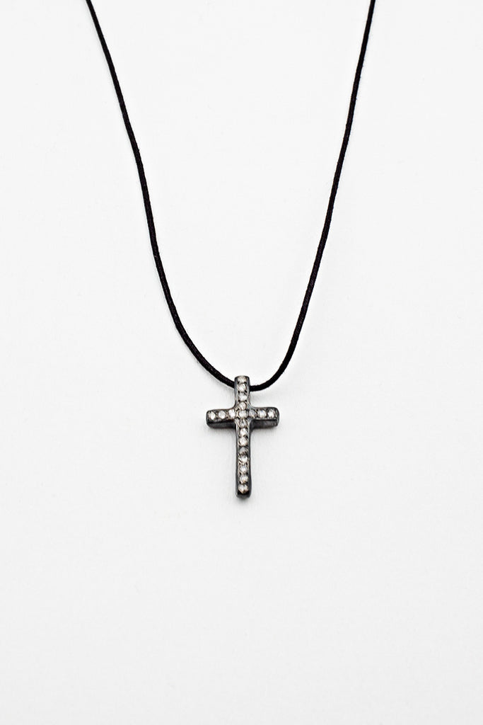 Diamond Cross Wax Cord Necklace