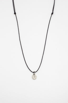 Icy Grey Diamond Cross Wax Cord Necklace