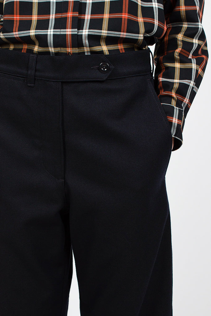 MHL Cropped Turn Up Trouser Ink Wool Drill