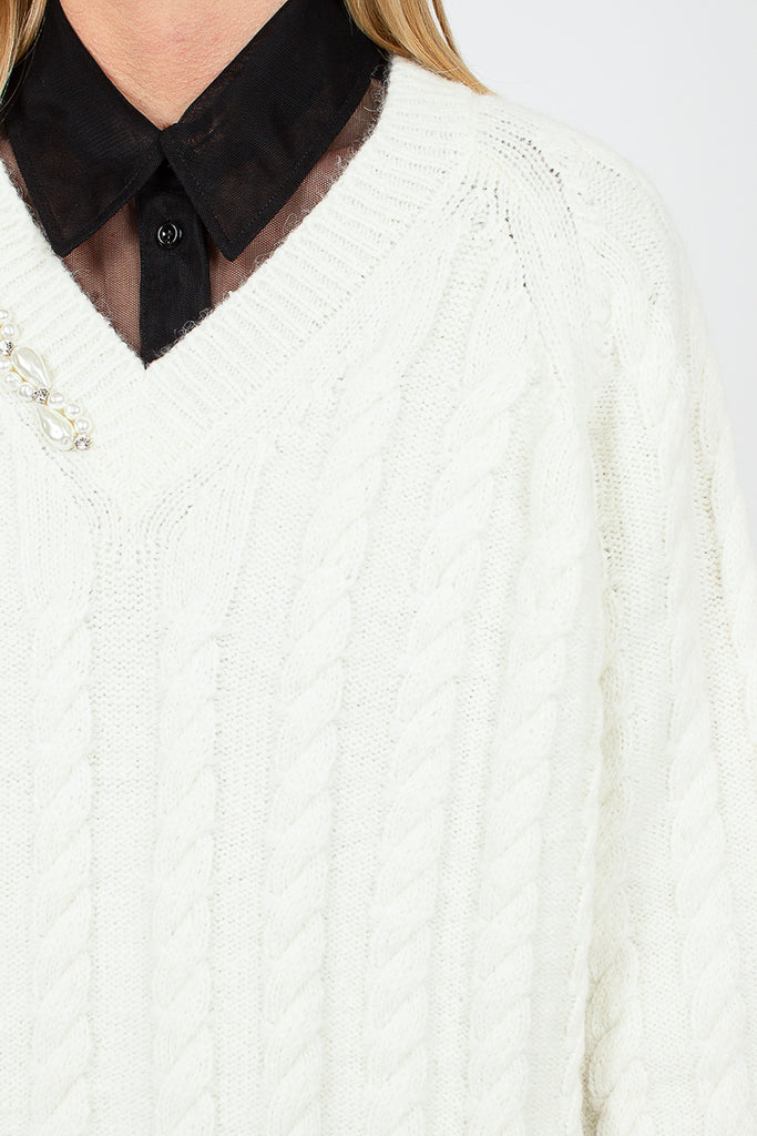 Chunky Embellished Cable Knit Sweater