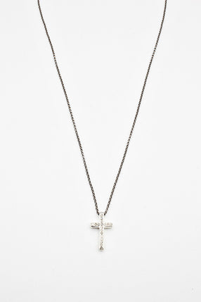 Silver Cross With Icy Grey Diamonds