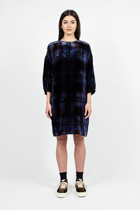 Darlene Dress Black/Blue Check Viscose