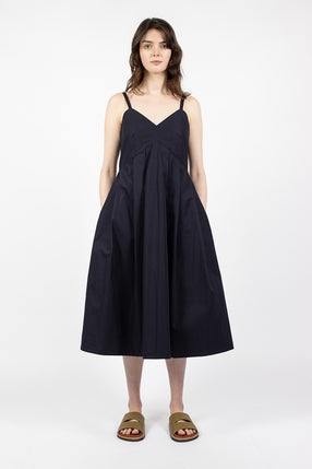 Dauphine Pleated Strap Dress Midnight Blue