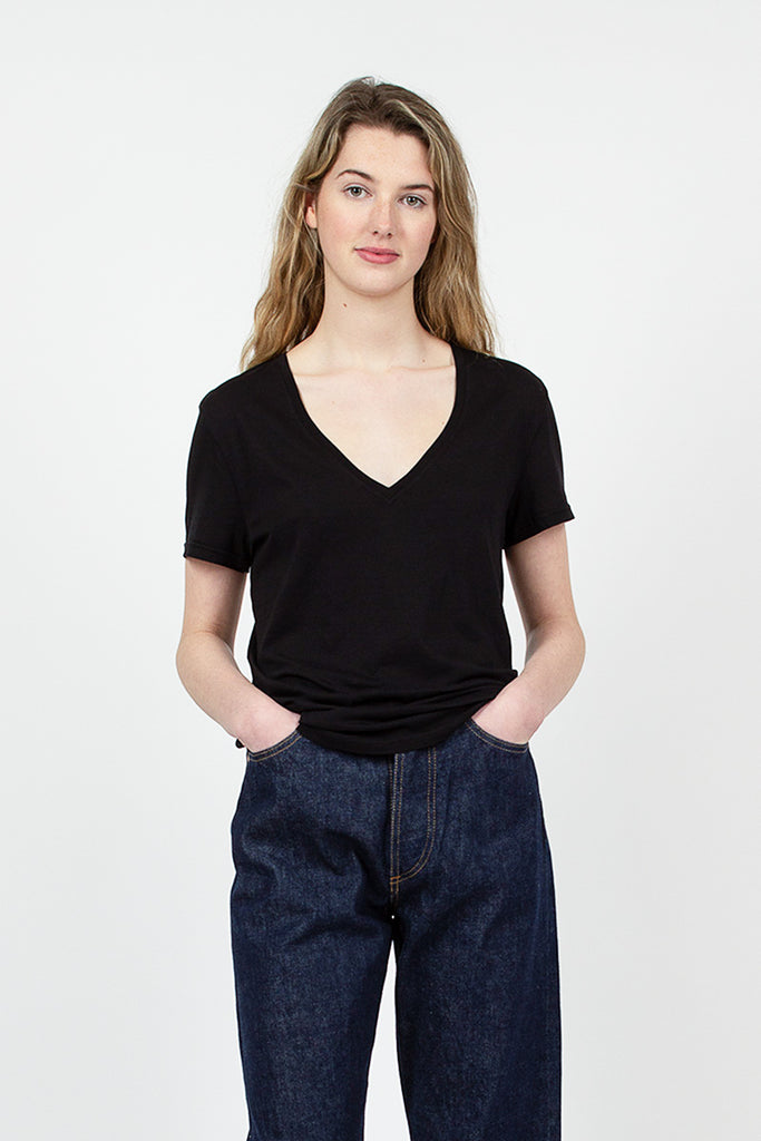 Black Organic Cotton V-Neck Tee