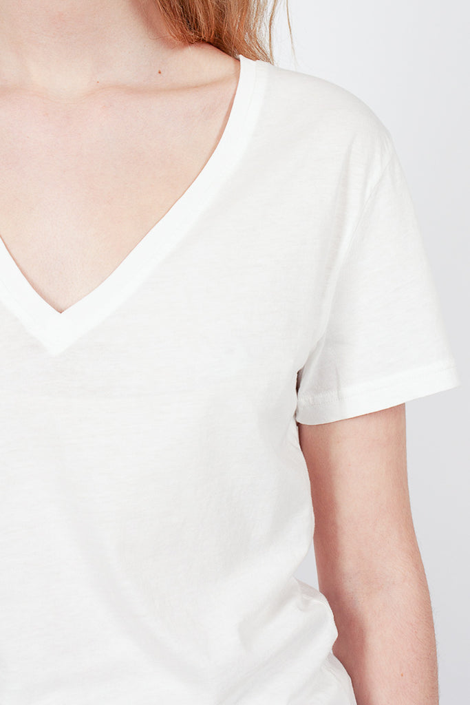White Organic Cotton V-Neck Tee