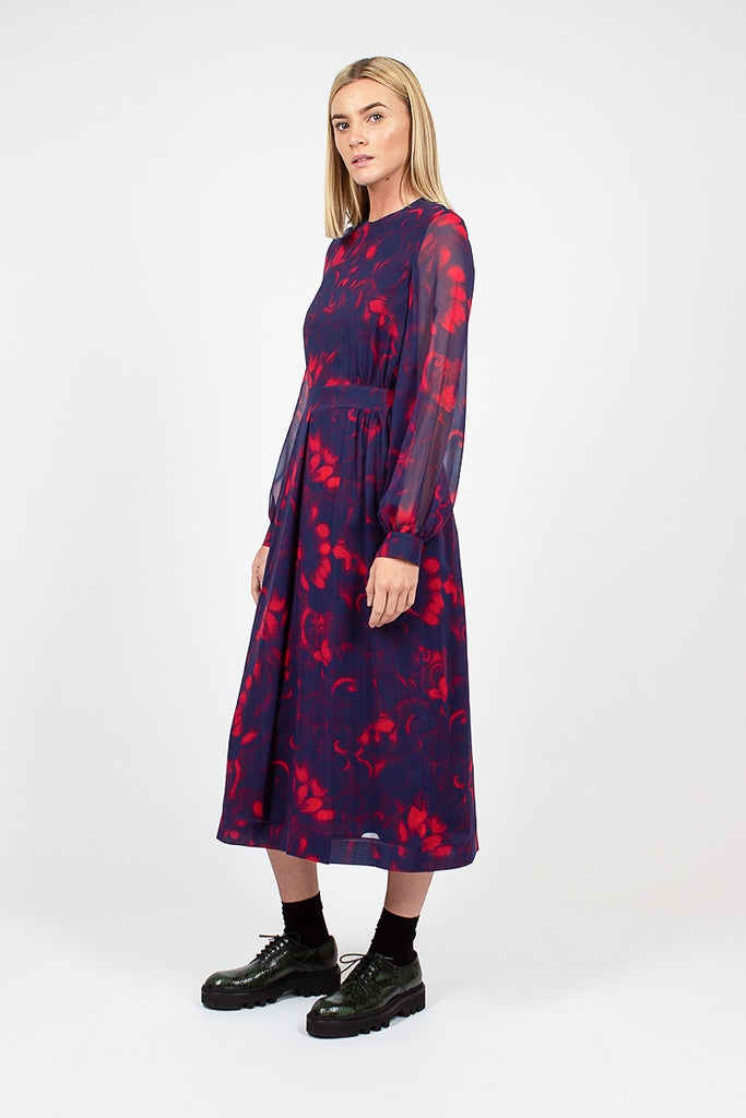 Navy And Red Floral Dress