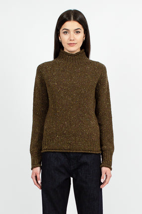 Diddy Sweater Olive Donegal Fleck Wool