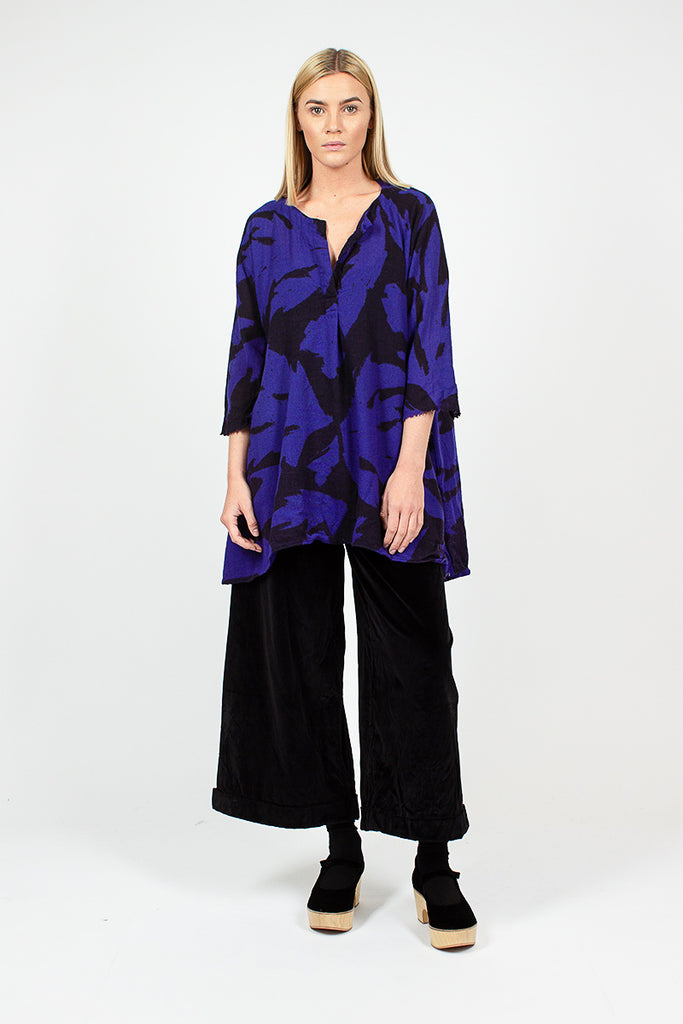 Patterned Black/Blue Wool Shirt