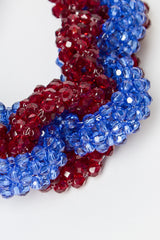 Blue and Burgundy Beaded Necklace