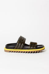 Notched Sole Leather Sandals Olive