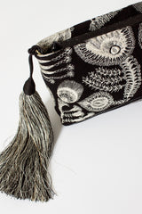 Black Feather Embroidered Bag