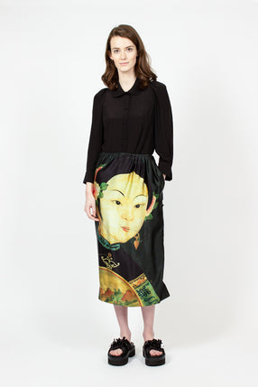 Portrait Print Pencil Skirt