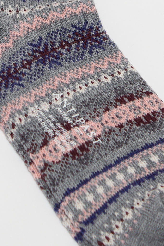 Mixed Grey Fair Isle Sock